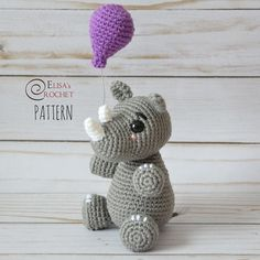 Listing for CROCHET PATTERN ONLY of the BABY RHINO with BALLOON AMIGURUMI DOLL. This doll is a great project for beginners crocheters. The finished doll is approximately 5 tall (from ears to legs, not including the balloon). Please let me know which email address youd like the
