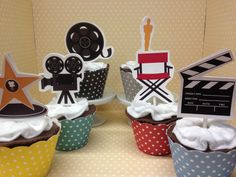 Hollywood movie items make plain cupcakes extra special for a movie night or Hollywood party! They measure about 2 1/2 high and there are 10 in a set. If you need more please click on the quantity button. You can get all the designs or just your favorite! Cupcake wrappers are