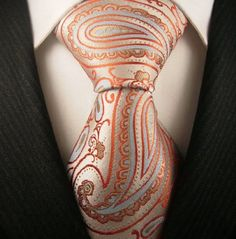 Neckties by Scott Allan, 100% Woven Mens Tie, Orange and Blue Paisley Neckties,