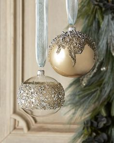"Encrusted Christmas Ornaments sold as set of two of same design. Sequined ornament shown on left; beaded ornament shown on right Made of glass. 4""Dia. x 4.5""T. Made in Poland."