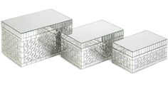 The Mandiline Mirror Mosaic Boxes - Set of 3 is a great addition to any bedroom. Find your home furnishings and organizing products at Stacks and Stacks.