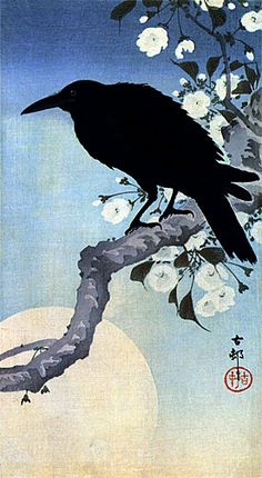 CROW ON CHERRY BRANCH HUGE JAPANESE ART PRINT BY KOSON