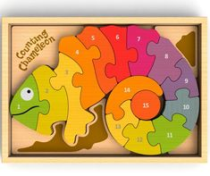 Our colorful chameleon is bilingual! This puzzle teaches numbers 1 to 15 on one side and spells out the number names in both English and Spanish on the reverse. Each chunky, double-sided piece fits sequentially for a rainbow of counting fun. Preschool Puzzles, Counting Puzzles, Puzzles For Toddlers, Wooden Numbers, Scroll Saw Patterns, Wooden Puzzles, Wood Toys, Puzzle Pieces, Educational Toys
