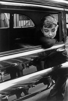"Audrey Hepburn during the filming of ""Sabrina"". New York, 1954. © Dennis Stock / Magnum Photos"