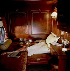 On a train. But not your ordinary train. Looks like the Simplon Orient Express! Train Car, Train Tracks, Train Rides, Train Trip, Train Room, Orient Express Train, Simplon Orient Express, Train Journey, Old Trains
