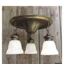 L15226 - Antique Brass Flush Mount Three Light Fixture