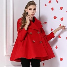 TS Women's Red Winter Coat Thick Wool Blends Outwears - EUR € 75.81