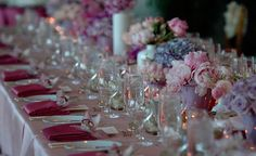 wedding table with peonies