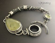 Sterling Silver Bracelet with Prehnite by LjBjewelry #SterlingSilverClasps
