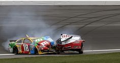 Kyle Busch wrecks in qualifying | Kyle Busch (18) and Joey Logano (22) wreck during a NASCAR Sprint Cup ...