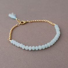 Teal Amazonite Gemstone Beaded Gold Bracelet also by JENNYandJUDE, $38.00