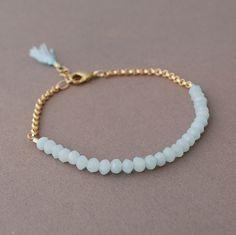 Teal Amazonite Gemstone Beaded Gold Bracelet also by JENNYandJUDE