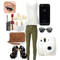 Green pants by maikehofman on Polyvore featuring polyvore fashion style Dorothy Perkins 7 For All Mankind Red Circle Gogo Philip Tory Burch Yves Saint Laurent NARS Cosmetics LORAC