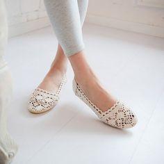 Cutout Crochet Flower Women Flats Shoes Loafers 7723