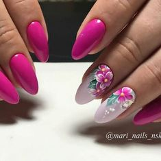 TOP 28 Barwnych Inspiracji na Letni Manicure Flower Nail Designs, Pretty Nail Designs, Flower Nail Art, Nail Art Designs, Classy Nails, Fancy Nails, Trendy Nails, Cute Nails, Spring Nails