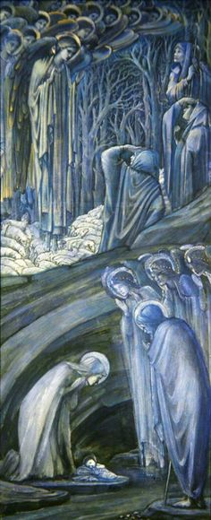 Nativity - Edward Burne-Jones, 1887. The Nativity is the finished study for a stained glass window in the chancel of St Philip's Cathedral, Birmingham, executed in 1888. In the upper part of the window, the angels are appearing to the dazzled shepherds. Below, under the rocky ledges which divide the composition into two parts, is seen the cave of Bethlehem, where a host of seraphs join with Joseph and Mary in adoration of the new-born Babe.