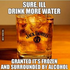 Frozen water and Jack Daniels...perfect match