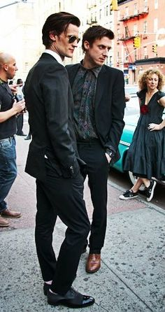Matt Smith and Arthur Darvill <3 Fashion Style. And Alex Kingston looking just darling in the background