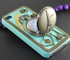 Eiffel Tower Pocket Watch ,love heart ,golden feather, flower,light green hard case --for iPhone 4 Case, iPhone 4s Case, iPhone 4 Hard Case. $24.99, via Etsy.