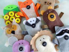 Felt Forest Critter Finger Puppets Sewing di preciouspatterns