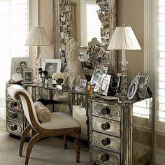 Mirrored dressing table = Old Hollywood glamour.  I love everything about this vanity.