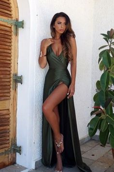 Backless Halter Prom Dresses, Side Split Mermaid Prom Dresses, Long Satin Prom Dresses, Sexy Evening Dresses, Elegant Party Dresses sold by Everbeauties on Storenvy Dark Green Prom Dresses, Split Prom Dresses, Prom Dresses For Teens, Prom Dresses 2018, Backless Prom Dresses, Mermaid Prom Dresses, Sexy Green Dress, Prom Dresses With Slits, Olive Green Formal Dress