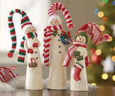 Jolly Snowmen Figurines - Set of 3