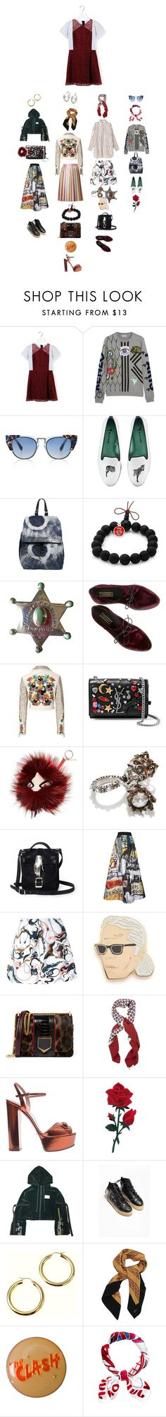 """""""Untitled #2069"""" by duumbblond ❤ liked on Polyvore featuring Carven, Kenzo, Fendi, Blue Bird, Jérôme Dreyfuss, King Ice, Tiffany & Co., Philipp Plein, Marco de Vincenzo and Yves Saint Laurent"""