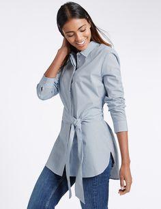 Рубашка удлиненная в мелкую полоску с поясом на талии | Marks & Spencer