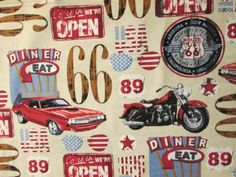 Route 66 Historcial Diner Cotton Fabric Fat Quarter or Custom Listing