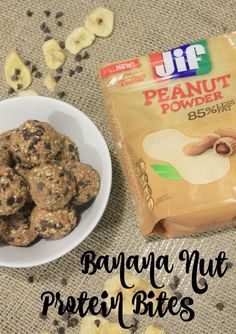 These Banana Nut Protein Bites from @toandfro21 have the taste and texture of a banana nut muffin and the added sweetness of chocolate chips! These bites are the perfect portable mid-day snack.