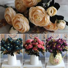 Sale Artificial Silk Fake Tea Rose Flowers Leaf Peony Floral Bouquet Home Wedding Party Decor New