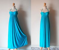 Elegant Blue Maxi Dress. $55.00, via Etsy.