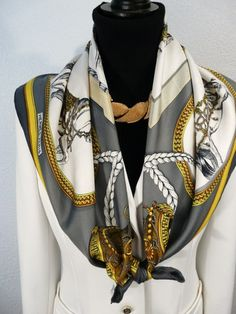 Authentic Vintage Hermes Silk Scarf Grand Apparat Gray