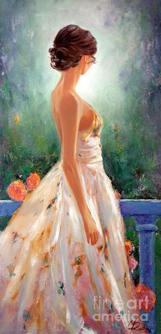 Summer In Provence von Michael Rock - Malerei Kunst Dress Painting, Painting Of Girl, Image Painting, Painting Art, Art Drawings Sketches, Painted Ladies, Acrylic Painting Canvas, Elegant Woman, Beautiful Paintings