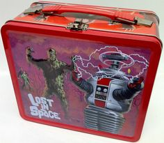 LOST IN SPACE OFFICIAL RETRO METAL TIN LUNCH BOX WITH CARRY HANDLE (RARE ITEM)