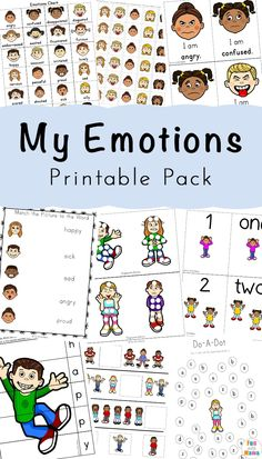 Feelings And Emotions For Kids Preschool Activities. A simple way to teach kids about emotions in a fun way. Great activity for homeschool and classroom settings. #freeprintable #worksheets #teacherresource #homeschool #emotions