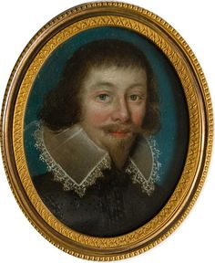 A finely executed portrait of a Courtier wearing embroidered black doublet, collar trimmed with lace, moustache and beard, in later gilt-metal mount  <br />  <br />As oil miniature portraits were rar...