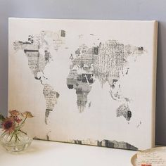 Sheet music world map art print maybe make by modpodging music vintage style postcard world map print gumiabroncs Choice Image