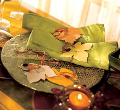 Diy Leafy Napkin Ties For a Fall Table