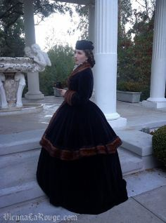 My version of the velvet and fur 'Hungarian' or Hussar style ensemble, worn by Empress Elisabeth (Sisi) of Austria.