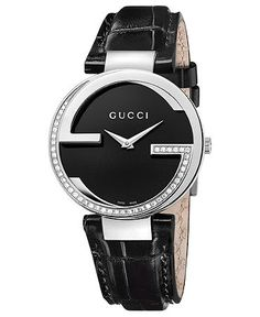 Gucci Watch, Women's Swiss Interlocking Diamond (3/10 ct. t.w.) Black Alligator Leather Strap 37mm YA133305   Web ID: 745970