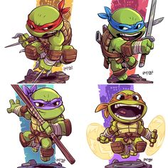 The Art of Derek Laufman — Rejoice! TMNT Chibi prints now available at. Cartoon Drawings, Cartoon Art, Cartoon Characters, Ninja Turtles Art, Teenage Mutant Ninja Turtles, Comic Books Art, Comic Art, Ninja Turtle Tattoos, Biomech Tattoo