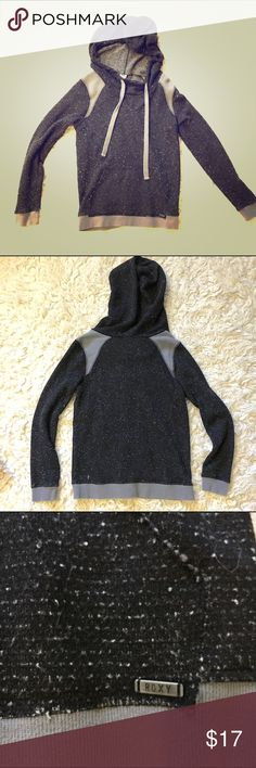 Roxy hoody Novelty french terry with variegated yarns (sweatery), oversized hood, grey rib shoulder yokes, cuffs and waistband. Cute shrunken fit with bracelet length sleeves and thick grey drawcord Roxy Tops Sweatshirts & Hoodies