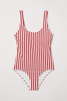 28966d7c3a0f5 H M Swimsuit - Red Striped Swimsuit