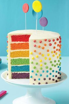 Surprise How to Make a Rainbow Layer Cake. I've always wanted to make a pretty cake like this for birthdays, haven't you?How to Make a Rainbow Layer Cake. I've always wanted to make a pretty cake like this for birthdays, haven't you? Toddler Birthday Cakes, 8th Birthday Cake, Rainbow Birthday, Birthday Boys, Colorful Birthday Cake, Birthday Ideas, Birthday Desserts, Diy Birthday, Rainbow Layer Cakes