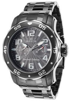 Invicta  Men's Pro Diver Ltd. Ed. Gunmetal IP Steel Bracelet Gunmetal Dial