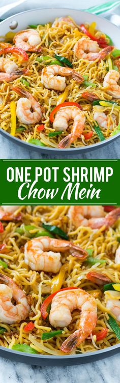 Shrimp Chow Mein (One Pot Meal) - This recipe for shrimp chow mein is a quick and easy one pot meal with plenty of stir fried shrimp and vegetables tossed with noodles and a simple sauce.