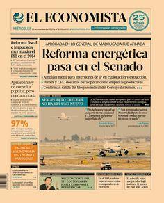 """""""Reforma energética pasa en el Senado"""". Portada de nuestra edición impresa. Miércoles 11 de diciembre de 2013."""