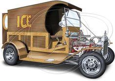 Vintage Custom Build Old Ice Truck Hot Rod Adult Unisex T Shirt POS450